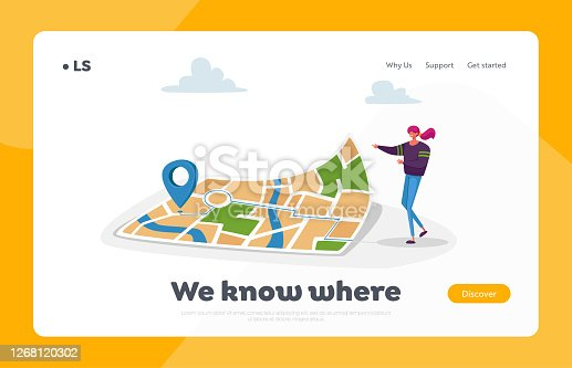 istock Navigation, Orienteering Traveling Landing Page Template. Character at Huge Map with Gps Pin Finding Way in Big City 1268120302