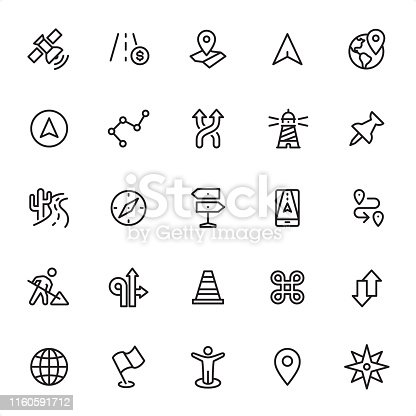 Navigation - 25 Outline Style - Single black line icons - Pixel Perfect / Pack #30 / Icons are designed in 48x48pх square, outline stroke 2px.  First row of outline icons contains: Satellite, Toll Highway, Road Map, Navigation Arrow, Location;    Second row contains: Pointer Stick, Route, Traffic Arrow Sign, Lighthouse, Straight Pin;  Third row contains: Cactus and Road Traffic, Navigational Compass, Directional Sign, GPS Mobile App, Distance Sign;  Fourth row contains: Under Construction, Directional Arrows, Traffic Cone, Information Symbol, Up and Down Arrows;  Fifth row contains: Globe - Navigational Equipment, Flag, Location Mark, Distance Marker, Compass Rose.  Complete Grandico collection - https://www.istockphoto.com/collaboration/boards/FwH1Zhu0rEuOegMW0JMa_w