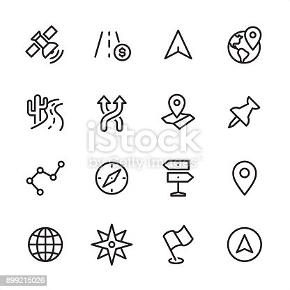 16 line black and white icons / Set #40 / Navigation /
