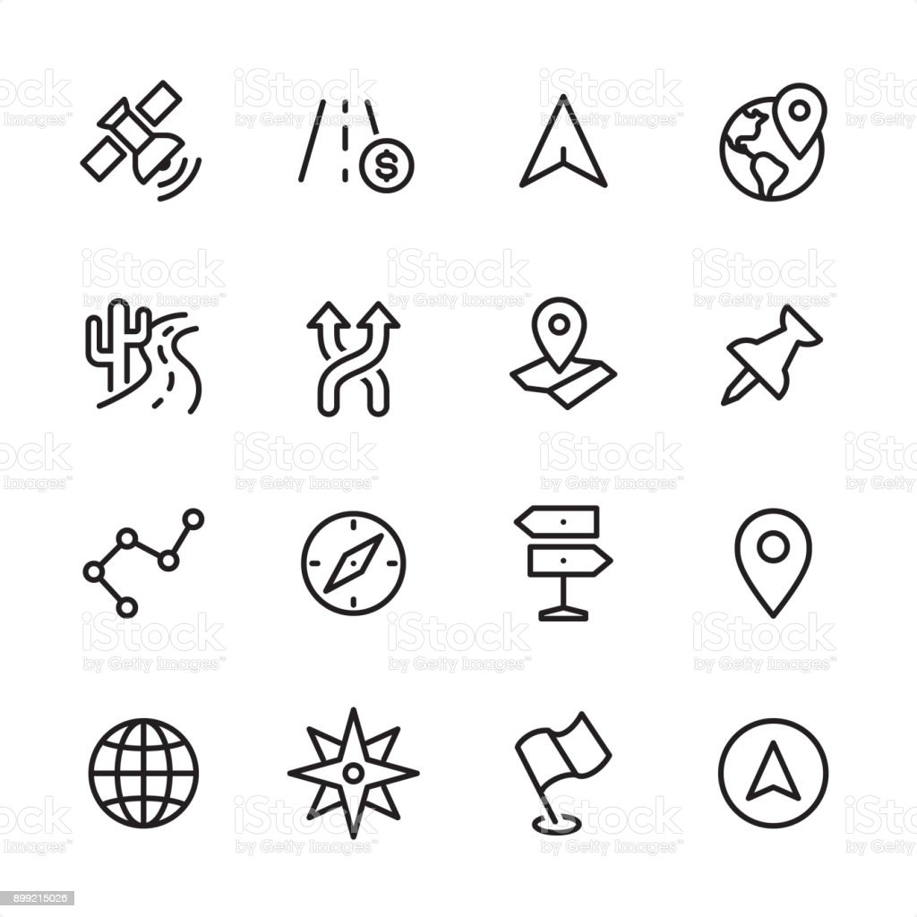 Navigation - outline icon set vector art illustration