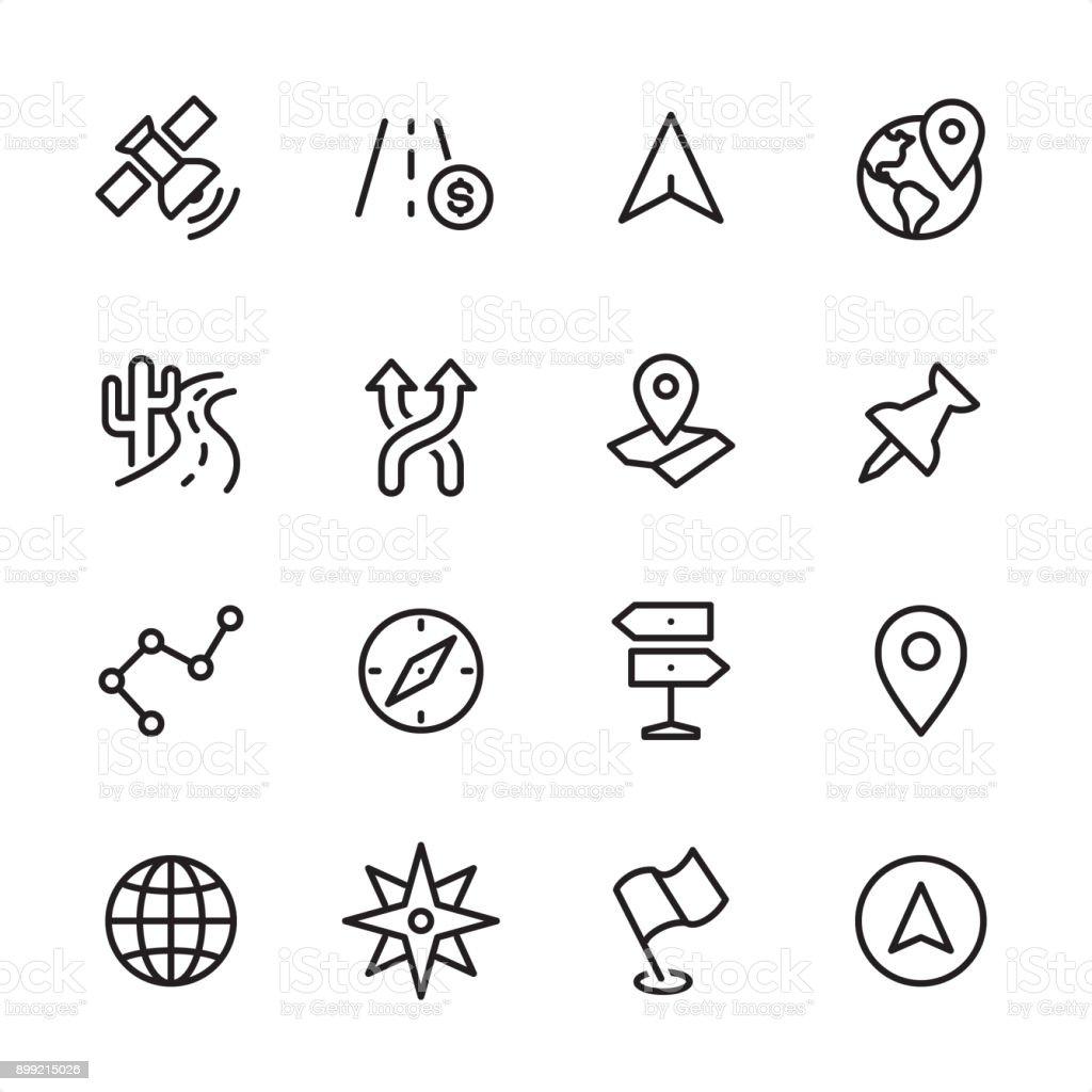 Navegação - conjunto de ícones de contorno - ilustração de arte em vetor