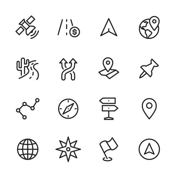 navigasyon - anahat icon set - fiziki coğrafya stock illustrations
