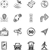 Navigation, sketch styled icon set