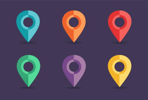 navigation pins collection - landmarks stock illustrations