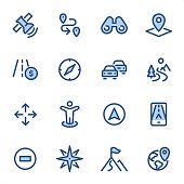 Navigation icons set #25 Specification: 16 icons, 36x36 pх, stroke weight 2 px Features: Pixel Perfect, Dichromatic, Single line   First row of icons contains: Satellite, Distance Sign, Binoculars, Road Map;  Second row contains: Tall Highway, Navigational Compass, Traffic Jam, Winding Road;  Third row contains: Crossroad, Location Mark, Pointer Stick, Mobile GPS;   Fourth row contains: No Entry Traffic Sign, Compass Rose, Mountain Peak, Location.  Complete BLUE MICO collection - https://www.istockphoto.com/collaboration/boards/Y8ZYtc2sY0qNQVGRttlncQ