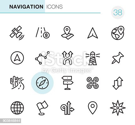 20 Outline Style - Black line - Pixel Perfect Navigation icons / Set #38 /