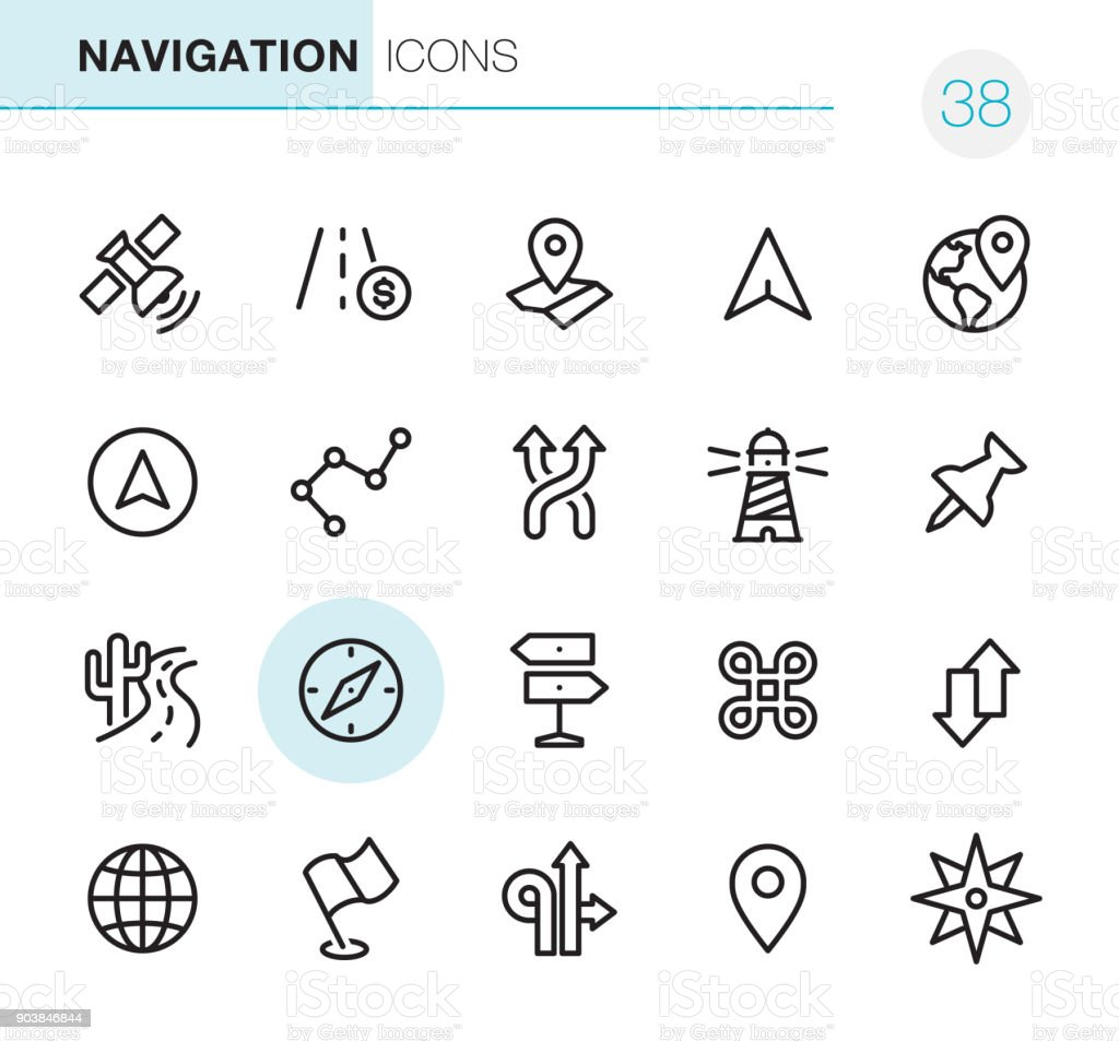 Navigation - Pixel Perfect icons – Vektorgrafik