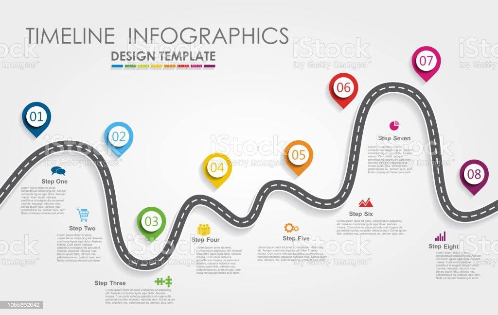 Navigation roadmap infographic timeline concept with place for your data. Vector illustration. royalty-free navigation roadmap infographic timeline concept with place for your data vector illustration stock illustration - download image now