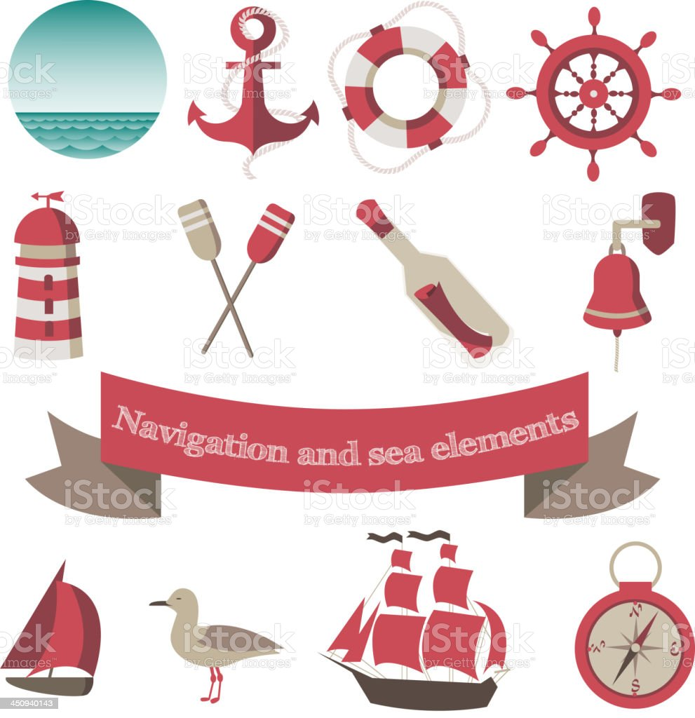 navigation, sea icons and elements royalty-free stock vector art