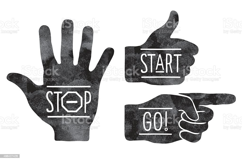 Navigation signs. Black hands silhouettes - pointing finger, stop hand vector art illustration