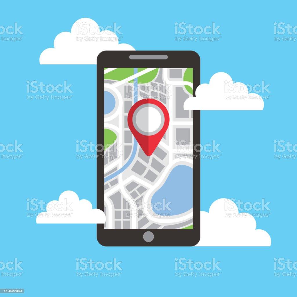 Ilustración de Tecnología De Navegación Smartphone Pin Mapa