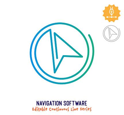 Navigation Software Continuous Line Editable Stroke Icon