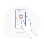 GPS navigation system app on mobile phone in human hand. Map and pin on the smartphone display. Tracking, geo-positioning vector illustration concept.