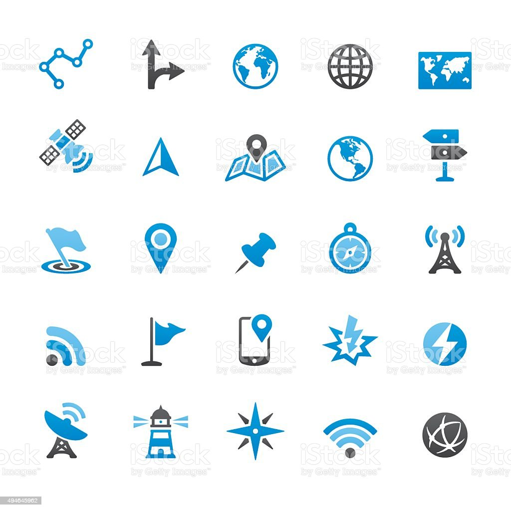 Navigation technology and Maps related vector icons vector art illustration
