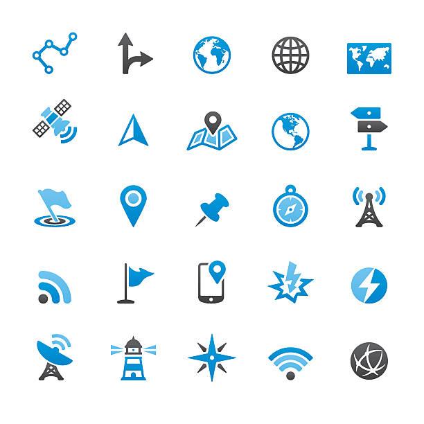 навигационную технологию и карты, векторные иконки - lightning stock illustrations