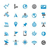 Navigation technology and Maps related vector icons