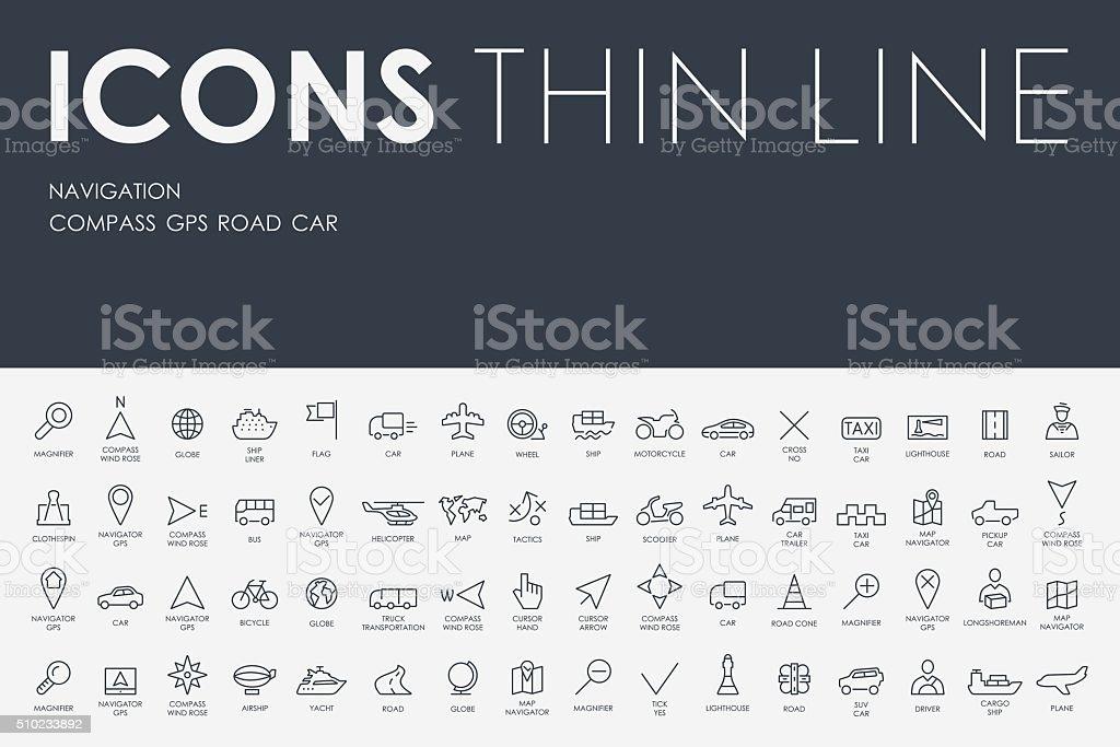 navigation Thin Line Icons vector art illustration