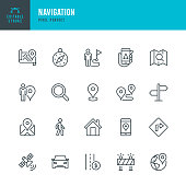 Navigation - thin line vector icon set. 20 linear icon. Pixel perfect. Editable outline stroke. The set contains icons: GPS, Navigational Compass, Distance Marker, Car, Walking, Mobile Phone, Map, Road Sign, Directional Sign.