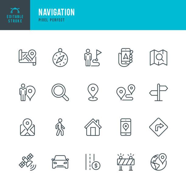 nawigacja - zestaw ikon wektorowych cienkich linii. piksel idealny. edytowalne obrys. zestaw zawiera ikony: gps, kompas nawigacyjny, znacznik odległości, samochód, chodzenie, telefon komórkowy, mapa, znak drogowy. - podróżowanie stock illustrations