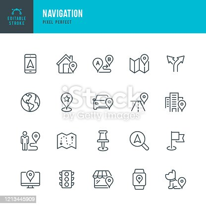 Navigation - thin line vector icon set. 20 linear icon. Pixel perfect. Editable outline stroke. The set contains icons: GPS, Map, Distance Marker, Navigation, Walking, Mobile Phone, Flag, Traffic Light, Domestic Animals.