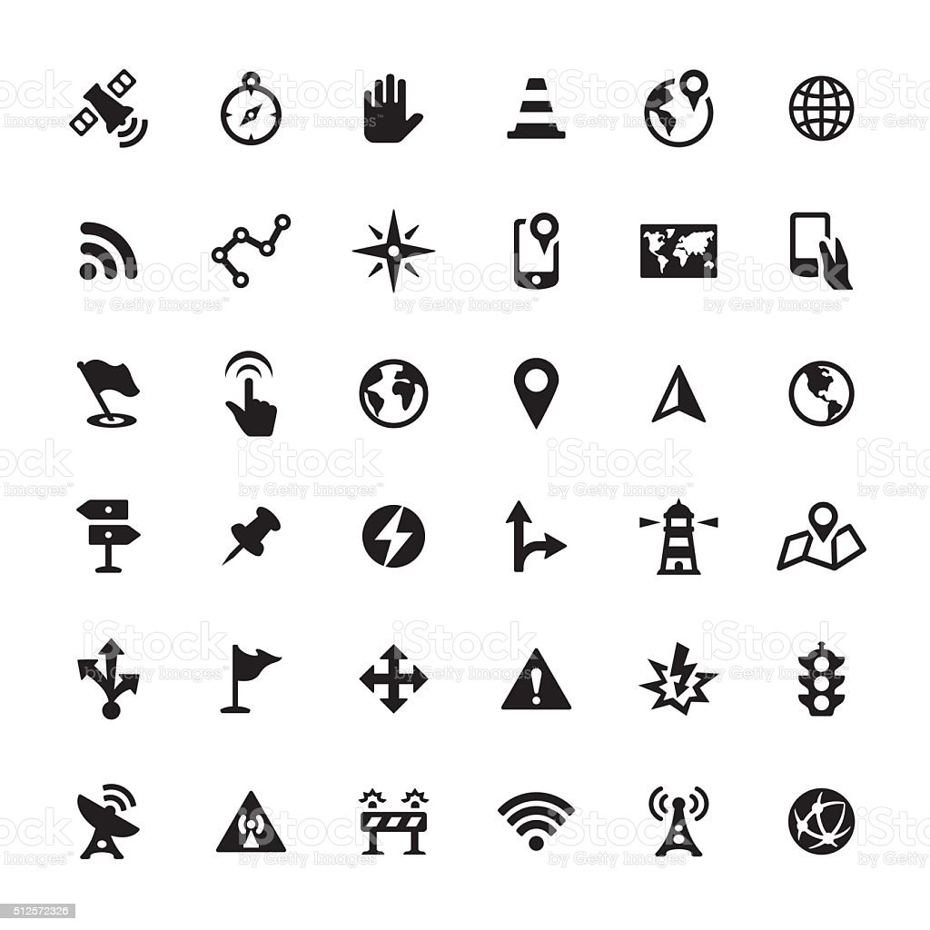Navigation vector icons vector art illustration