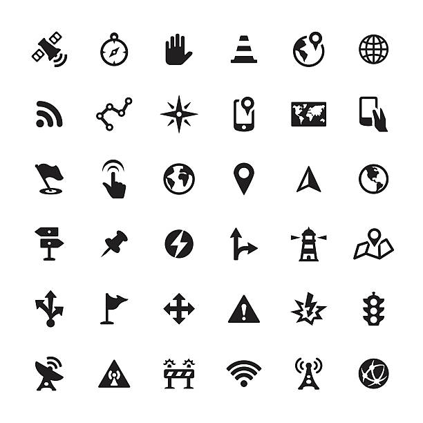 navigation vector icons - fiziki coğrafya stock illustrations