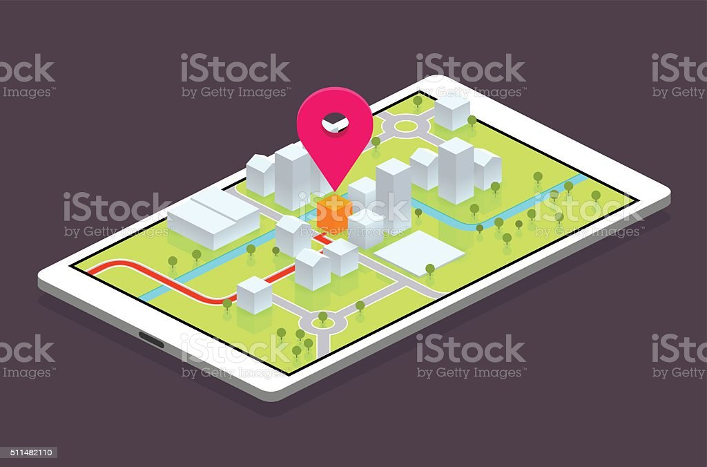 navigation gps navigation on mobile device Arranging stock vector
