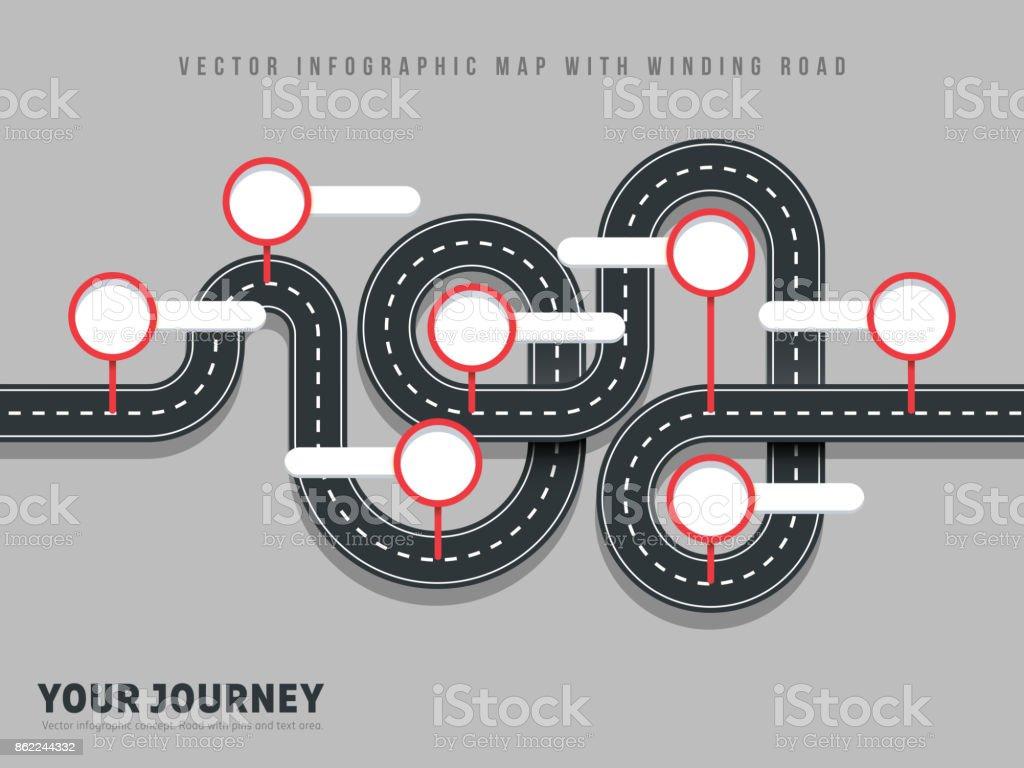 灰色の背景に道路ベクトル方法地図インフォ グラフィックを巻きナビゲーション ベクターアートイラスト