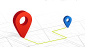 GPS navigator pin checking point to point red color on white city street background. Vector illustration