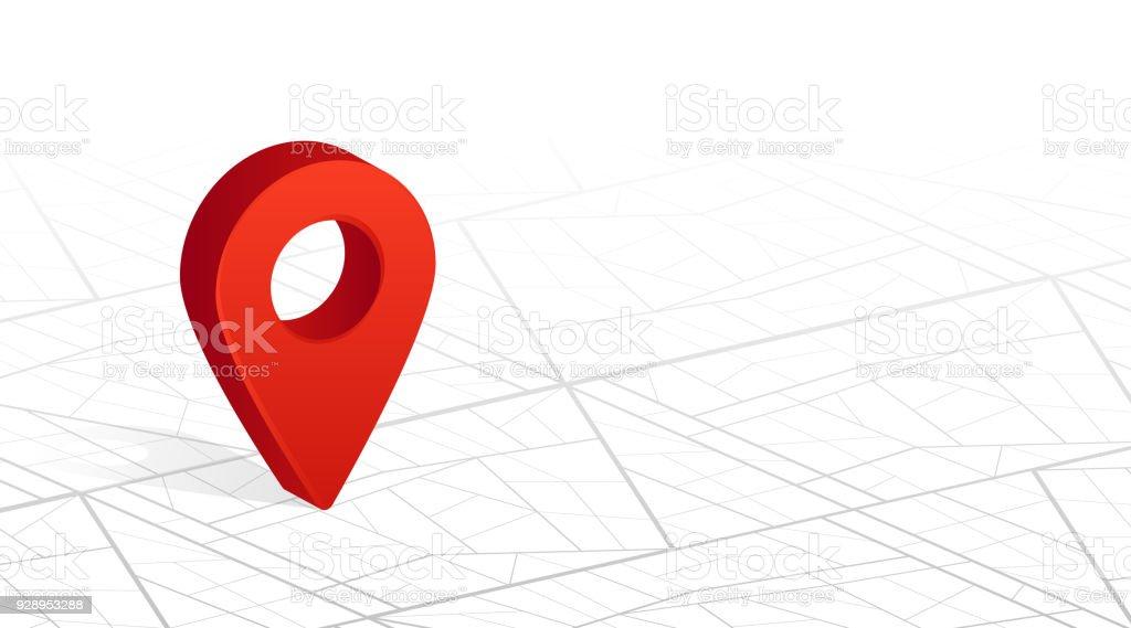 GPS navigator pin checking red color on city street map white background. Vector illustration vector art illustration