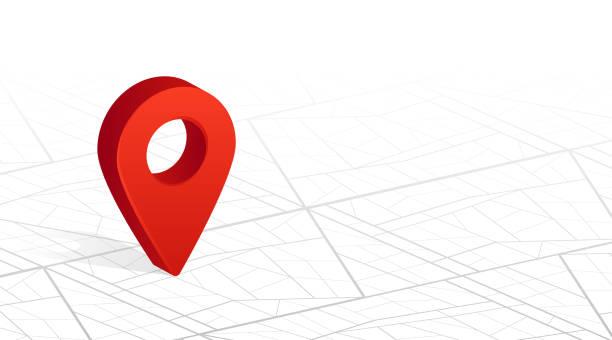 gps navigator pin checking red color on city street map white background. vector illustration - landmarks stock illustrations