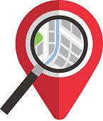 navigator pointer map magnifier location concept vector illustration