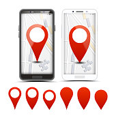 GPS Navigator Red Pointers, Vector Markers Set
