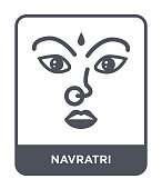 navratri icon vector on white background, navratri trendy filled icons from India and holi collection