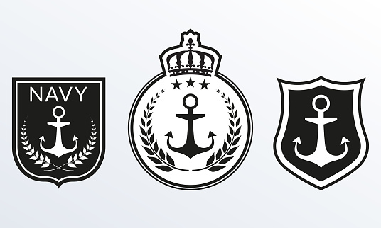 Navy badges set. Marine Patches logo collection. Nautical emblems with Shield and Anchor. Vector illustration.