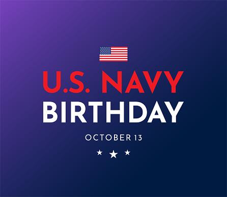U.S. Navy Birthday, October 13.  Vector illustration. EPS10