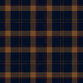 Navy blue, brown and red color Scottish tartan plaid seamless textile pattern background.