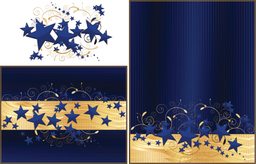 Navy Blue And Gold Stars Background Design Set Stock Illustration Download Image Now Istock