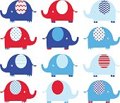 Navy Blue and Red Cute Elephant set