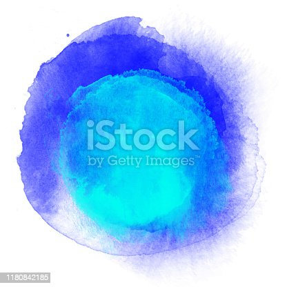 Navy Blue and Turquoise Blue Watercolor Circle Splashes Set Isolated on White Background. Border of hues of navy blue paint splashing droplets. Watercolor strokes design element. Navy blue colored hand painted abstract texture. Design Element for Greeting Cards and Labels, Abstract Background.