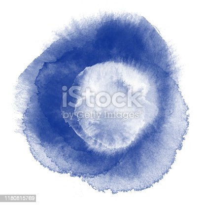 Navy Blue and White Watercolor Circle Splashes Set Isolated on White Background. Border of hues of navy blue paint splashing droplets. Watercolor strokes design element. Navy blue colored hand painted abstract texture.Design Element for Greeting Cards and Labels, Abstract Background.