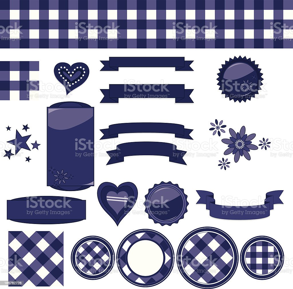 Navy Blue Gingham Check Background Tiles Ribbons Seals
