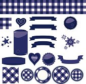 Navy Blue Gingham Check Background Tiles, Ribbons, Seals, Buttons, More