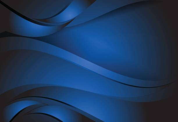 illustrazioni stock, clip art, cartoni animati e icone di tendenza di navy blue gradient abstract line wavy background - blu scuro