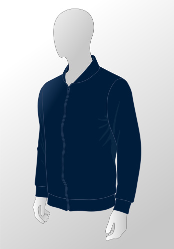 Navy Blue Hooded Jacket Template Vector On White Background