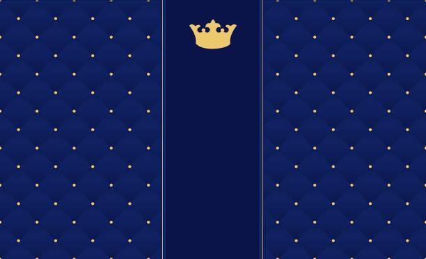 골드 왕관과 함께 복고 스타일에서 네이 비 블루 완벽 한 패턴입니다. 프리미엄 로얄 파티에 사용할 수 있습니다. - 왕족 stock illustrations