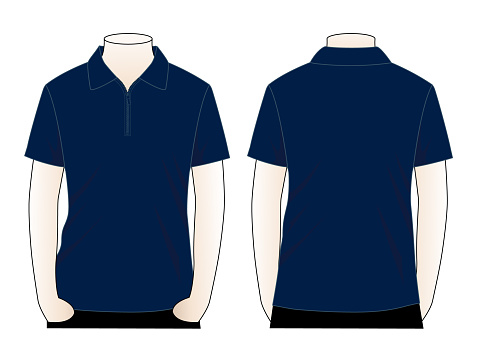 Navy blue short sleeve zip placket polo shirt template vector on white background.