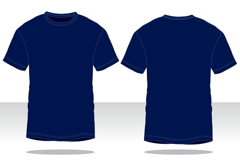 Navy Blue T-Shirt Vector for Template