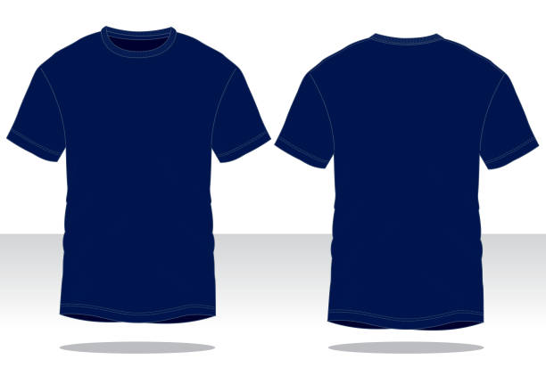 Navy Blue T-Shirt Vector for Template Front and Back View dark blue stock illustrations