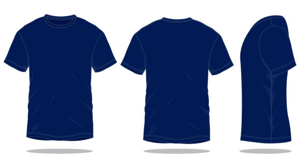 Navy Blue T-Shirt Vector for Template Front and Back View t shirt stock illustrations